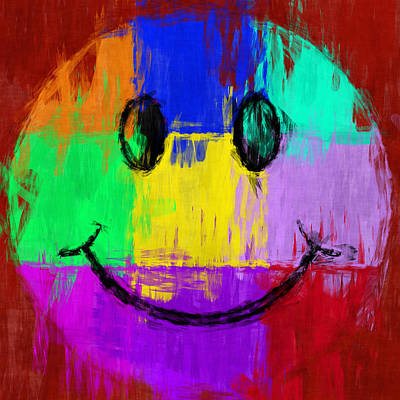 Colorful Abstract Digital Art - Abstract Smiley Face by David G Paul