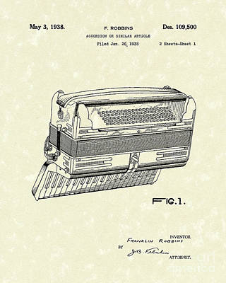Accordion 1938 Patent Art Art Print