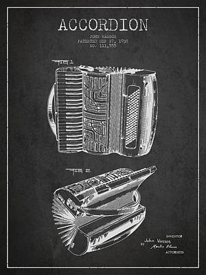 Accordion Drawing - Accordion Patent Drawing From 1938 by Aged Pixel