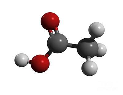 Acetic Acid Molecule Art Print by Friedrich Saurer