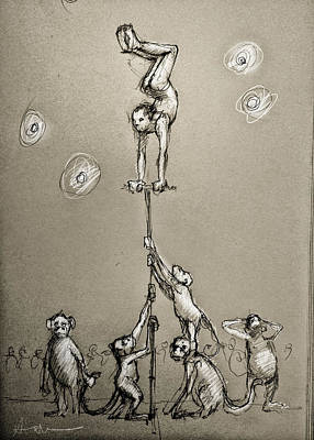 Chimpanzee Drawing - Acrobats by H James Hoff