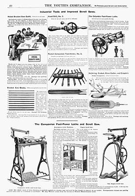 Saw Blades Painting - Ad Tools, 1890 by Granger