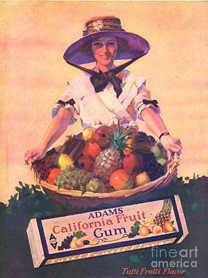 Adams California Fruit Gum 1910s Usa Art Print by The Advertising Archives