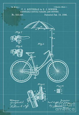 Bike Drawing - Adjustable Bicycle Parasol And Support Patent by Pablo Franchi