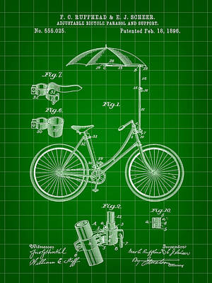 Adjustable Bike Patent 1896 - Green Art Print by Stephen Younts
