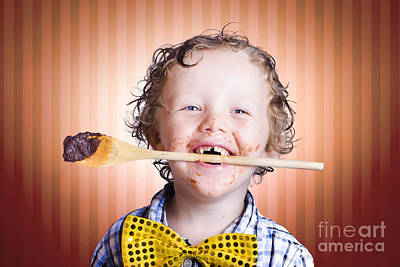 Adorable Little Boy Cooking Chocolate Easter Cake Art Print