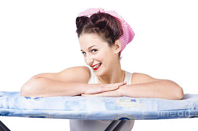 Adorable Sixties Pin Up Lady On Ironing Board Print by Jorgo Photography - Wall Art Gallery