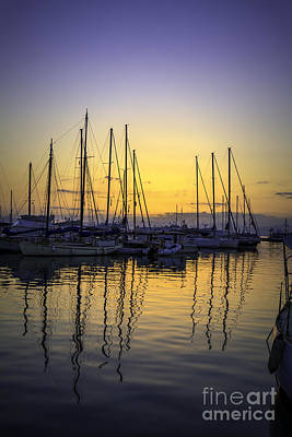 Photograph - Aegina Harbour Sunset by Paul Cowan