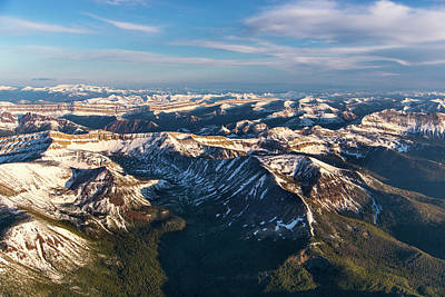 Aerial Of The Rocky Mountains Art Print by Chuck Haney