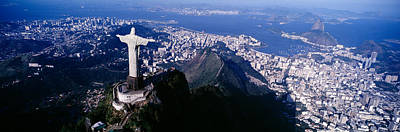 Redeemer Photograph - Aerial, Rio De Janeiro, Brazil by Panoramic Images