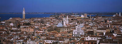 Doges Palace Photograph - Aerial View Of A City Along A Canal by Panoramic Images