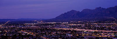 Tucson Photograph - Aerial View Of A City At Night, Tucson by Panoramic Images