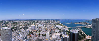 Florida Bridge Photograph - Aerial View Of A City, Miami, Florida by Panoramic Images