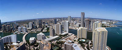 Florida Bridge Photograph - Aerial View Of A City, Miami by Panoramic Images