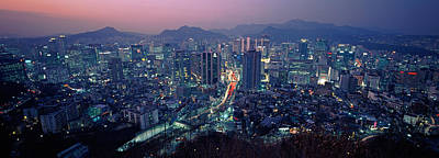 Aerial View Of A City, Seoul, South Art Print