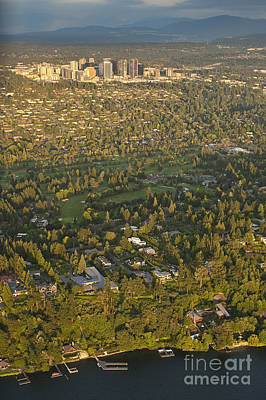 Photograph - Aerial View Of Bellevue Skyline by Jim Corwin