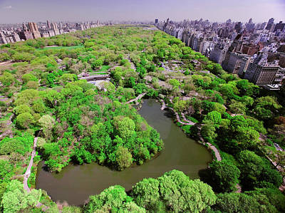Aerial View Of Central Park In Spring Art Print