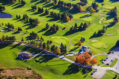 Photograph - Aerial View Of Fall Foliage And A Golf Course In Stowe Vermont by Don Landwehrle