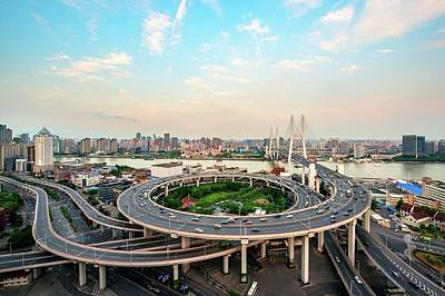 Photograph - Aerial View Of Nanpu Bridge by Fei Yang