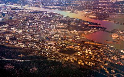 Aerial View Of Riga. Latvia. Rainbow Earth Art Print