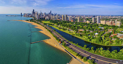 Aerial View Of Shoreline And Lincoln Art Print