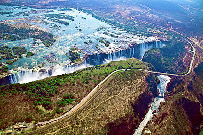 Zambia Waterfall Photograph - Aerial View Of Victoria Falls by Miva Stock