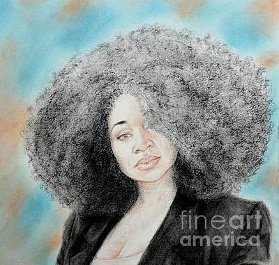 Drawing - Aevin Dugas Holder Of The Guinness Book Of World Records For The Biggest Afro by Jim Fitzpatrick