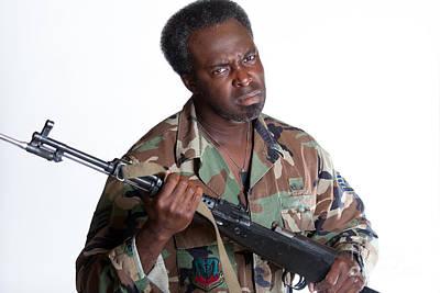 Photograph - African American Man With Gun by Gunter Nezhoda