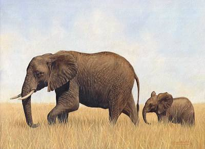 Mother And Baby Painting - African Elephants by David Stribbling