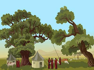 Digital Art - African Masai by Prakash Leuva
