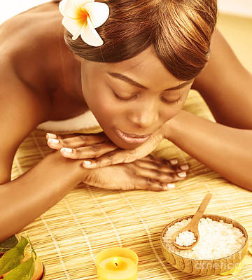 African Resort Photograph - African Woman In Spa Salon by Anna Om