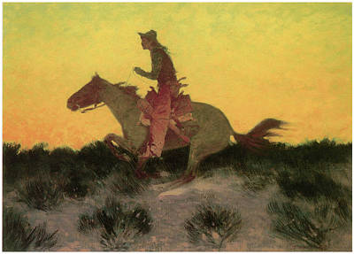 Against The Sunset Art Print by Frederic Remington