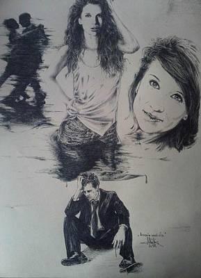 Drawing - Agonia Unui Vis by Robert Art