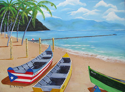 Borinquen Painting - Aguadilla Crashboat Beach by Luis F Rodriguez