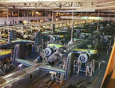 B25 Photograph - Aircraft Factory, 1942 by Granger