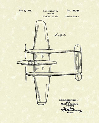 1946 Wall Art - Drawing - Airplane 1946 Patent Art by Prior Art Design