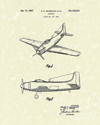 Airplane Drawing - Airplane 1947 Patent Art by Prior Art Design