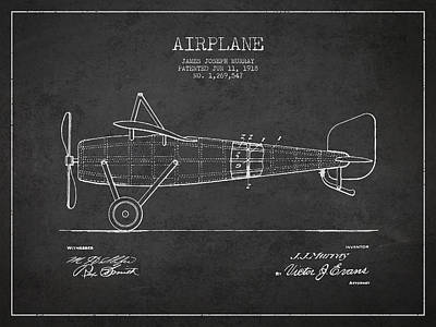 Transportation Digital Art - Airplane Patent Drawing from 1918 by Aged Pixel