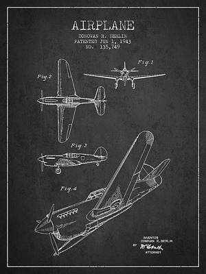 Transportation Royalty-Free and Rights-Managed Images - Airplane patent Drawing from 1943 by Aged Pixel
