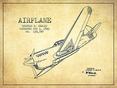 Technical Drawing Digital Art - Airplane Patent Drawing From 1943-vintage by Aged Pixel