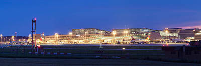 Airport At Night, Stuttgart Airport Art Print
