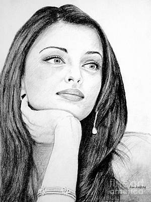 Amitabh Drawing - # 1 Aishwarya Rai by Alan Armstrong