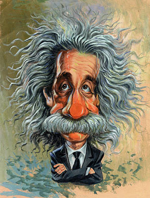 Comics Painting - Albert Einstein by Art