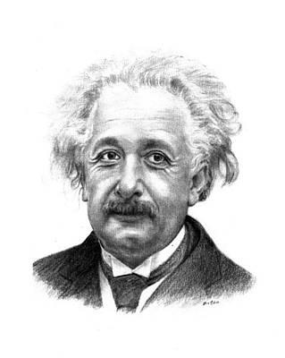 Einstein Drawing - Albert Einstein by Lou Ortiz