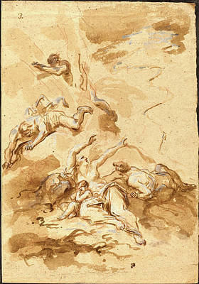 Wash Drawing - Alessandro Magnasco, Italian 1667-1749 by Litz Collection