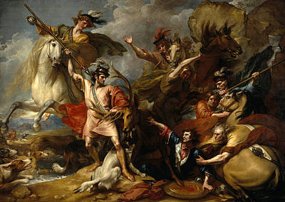 Scotland Painting - Alexander IIi Of Scotland Rescued From The Fury Of A Stag By The Intrepidity Of Colin Fitzgerald  by Benjamin West