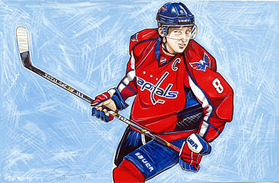 Olympic Hockey Drawing - Alexander Ovechkin by Dave Olsen