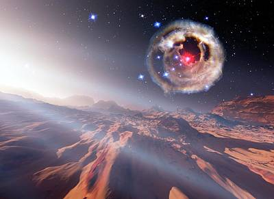 Alien Planet And Supernova Art Print by Nasa/esa/stsci/h.bond/detlev Van Ravenswaay