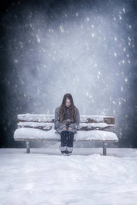 Thoughtful Photograph - Alone In The Snow by Joana Kruse