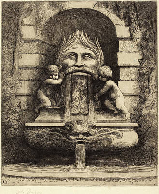 Grotesque Drawing - Alphonse Legros, Fountain Grotesque, Children And Basin Une by Quint Lox
